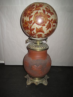 Antique Oil Lamp Oriental Table Lamp GWTW  Terracotta Base/Hand Painted Globe