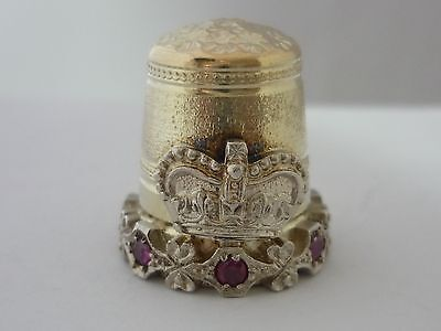 Stunning Rare Vintage Heavyweight Solid 9ct Gold & Ruby Thimble - Swann Thimbles