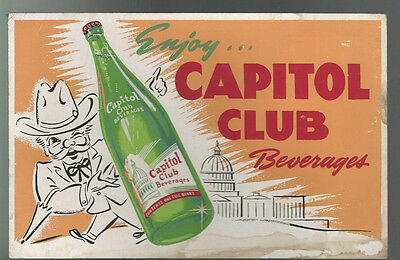 VINTAGE CARDBOARD ENJOY CAPITOL CLUB BEVERAGES SIGN 1950s