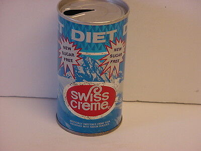 Canfield's 1967 Diet Swiss Creme Straight Steel Pull Tab Top Opened Soda Can
