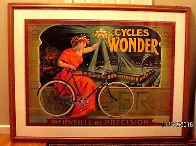 """1890s-ORG-WONDER CYCLES-FACTORY BICYCLE FRENCH POSTER-59"""" X 42""""-OAK FRAME-SIGN"""