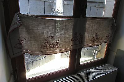 Prettiest Antique French Embroidered Oaty Linen Shelf/chimney Trim Ducks/rabbits