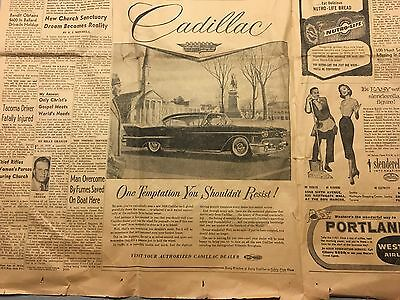 1958 newspaper ad for Cadillac - One Temptation You Shouldn't Resist!