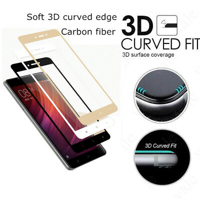 3D Curved Soft Edge 9H+ Full Cover Protective Tempered Glass For Xiaomi Redmi 4X