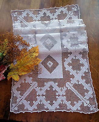 Elegant Geometric Mid-Century Italian Handmade Lace Runner - Clean, Ready to Use