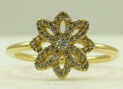 ffb508923 AUTHENTIC PANDORA LACE Botanique Clear CZ 14K Gold Ring Size 7 1/2 ...