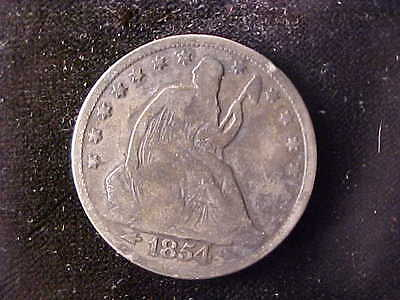 Seated Liberty 50 Cents 1854 Arrows, Rim Cuts