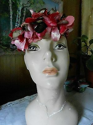 Vintage 1950's Sweet Pink Floral Halo Style HAT