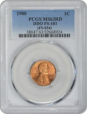 1980 Lincoln Cent MS63RD PCGS DDO FS-101 Double Die Obverse Varieties