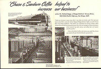 1947 Large Two-Page Ad - Chase & Sanborn Coffee - Railroad Dining Car - *L@@K*