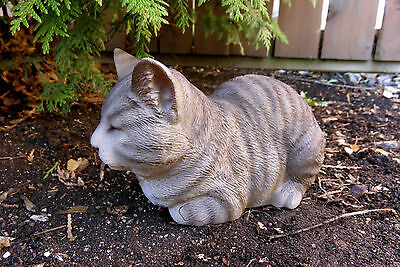 GREY TABBY CAT SLEEPING FIGURINE KITTEN 8 in.animal farm resin  Eyes closed New