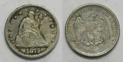 X243  1875-S Liberty Seated Twenty 20-Cent Piece, AU details, hairlines