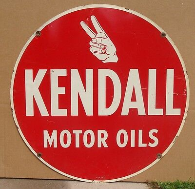 "Original Kendall Motor Oil Metal Advertising Sign 24"" Diameter. *Gas & Oil"