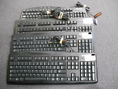 Lot of 4 Used Wired Computer Keyboards - Microsoft and Logitech!