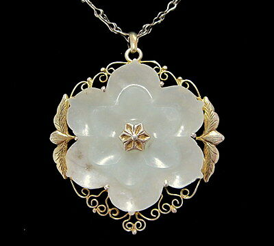 CHINESE Vintage CARVED Celadon Jade LOTUS FLOWER Gilt Silver PENDANT NECKLACE