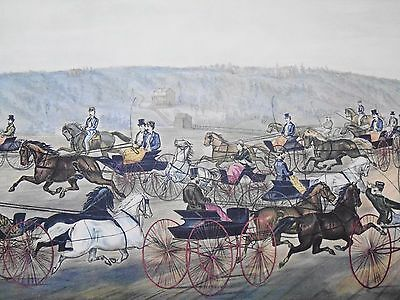 Vintage Currier & Ives' America Print Speeding On The Avenue Horse Carriage 1870