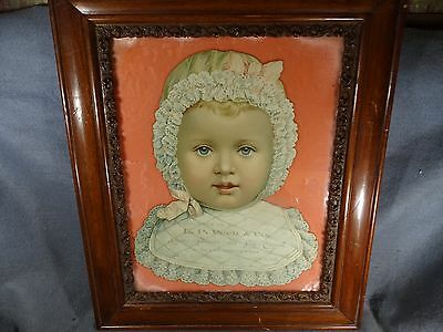Antique Die Cut Baby Face San Antonio Texas Peck Furniture Co. Litho Advertising