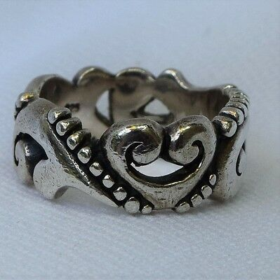 Vintage Heavy 8 Grams Sterling Silver Filigree Band Ring Size 7 Brighton