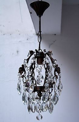 Antique Cage Style Brass & Crystals small Chandelier from 1950's