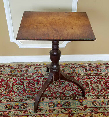 Antique American Federal Tiger Maple Spider Leg Candle Stand Table c1810