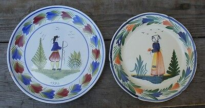 "(2) Henriot Quimper France Dinner Plates  Man  9 3/4"" and a Lady 9"""