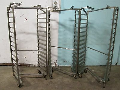 "Lot Of (3) ""zframerack"" Heavy Duty Commercial S.s. Nesting Oven Racks On Casters"