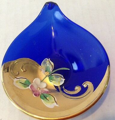 Vintage Murano Blue Glass Trinket Tray Dish Gold Floral