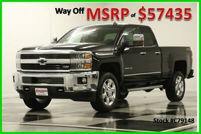 2017 Chevrolet Silverado 2500 HD MSRP$57435 4X4 LTZ GPS Leather Black Double Z71 New 2500HD Heated Cooled Seats Navigation 6.0L V8 Gas Cab 4WD Camera Short Bed C