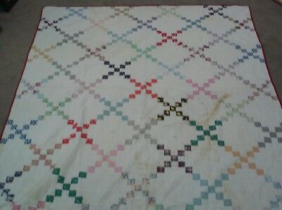 Antique Folk Art Hand Quilted Patchwork Quilt Lancaster Cty PA 70x85""