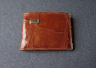 Vintage 20 Mk Gold Plated Blank Monogram Space Genuine Alligator Bifold Wallet