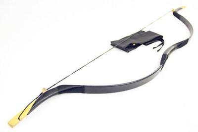 Chinese Mongolian Handmade Black Cow Leather Longbow Hunt Shooting Recurve Bow
