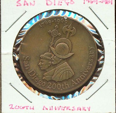 Vintage 1709-1909 200Th Anniversary Of San Diego Medal (S668) Superior!!!