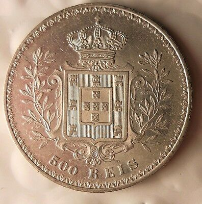 1898 PORTUGAL 500 REIS - Strong Grade - Big Value Silver Coin - Lot #720