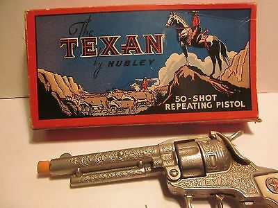"Vintage Hubley ""the Texan"" 50 Shot Repeating  Toy Cap Pistol  #285,  W/box,"