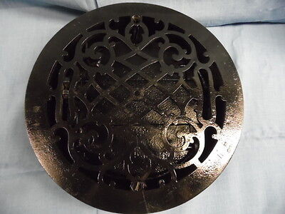 "VTG. 9.5""ROUND CAST IRON FLOOR  REGISTER HEAT GRATE / VENT w/ WORKING LOUVERS"