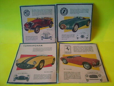 4 1950's Sports Car Cereal Box Panels
