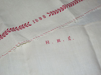 Antique Dated 1888 RED EMBROIDERED LINEN Towel Monogram Victorian