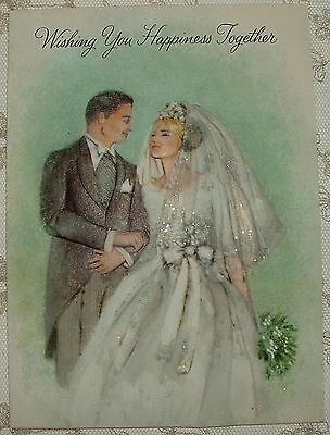 Glittered - 1960's Bride & Groom - 1960's Vintage HALLMARK Wedding Card