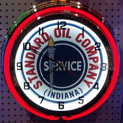 "18"" STANDARD OIL CO Indiana Sign Double Neon Clock Gas Gasoline Station Lube"