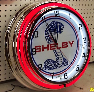 """18"""" Ford Mustang SHELBY COBRA Sign Double Neon Clock"""