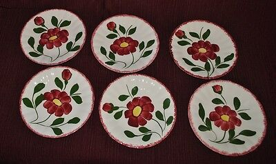 Blue Ridge Southern Pottery - RED NOCTURNE - 6 Saucers