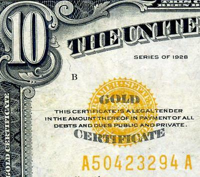 HGR 1928 $10 ((Gold Certificate)) AWESOME GRADE