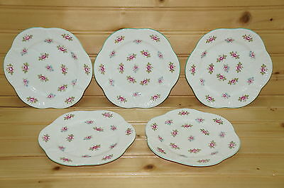 Shelley Rosebud (5) Bread & Butter Plates, 6""