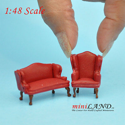 "1:48 1/4"" quarter scale Queen Anne Leather Sofa /wing chair set RED Dollhouse"