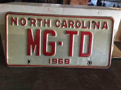 "1968 North Carolina Red MG Specialty License Plate - Texas ""MG TD""  MG TD"