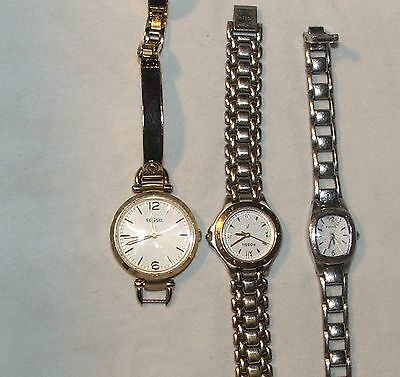 FOSSIL Women's Wrist Watches Watch Silver / Gold Tone Lot of 3