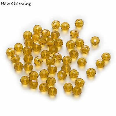 50 Piece Amber Crystal Glass Beads Jewelry Making Rondelle Faceted Quartz 4-8mm