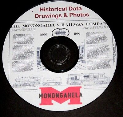 Monongahela RR Historcal Data,Drawings & Photos from 1900-1992  PDF files on DVD
