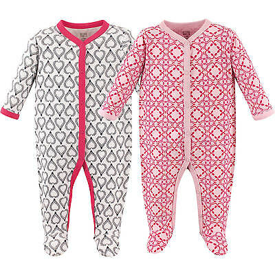 Hudson Baby Girls 2 Pack Cotton Sleep And Play Sleepers 0-3 3-6 6-9 Months Boho