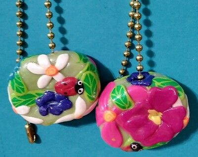Set of two LadyBug & Flowers daisies hibiscus lamp / ceiling fan pulls handcraft
